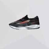 Zapatos del vector para correr Zapatos del deporte del ejemplo en estilo del polígono Calzado del logotipo del triángulo libre illustration