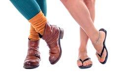 Zapatos del verano y zapatos del invierno Fotografía de archivo