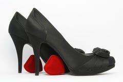 Zapatos elegantes negros Fotos de archivo