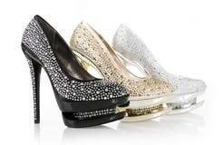 Zapatos encrusted cristales imagenes de archivo
