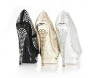 Zapatos encrusted cristales del talón foto de archivo libre de regalías