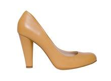 Zapatos femeninos beige aislados en el fondo blanco, s Fotografía de archivo libre de regalías