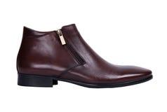 Zapatos masculinos de Brown aislados en el fondo blanco Fotos de archivo libres de regalías