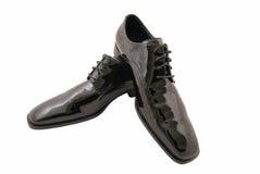 Zapatos negros del smoking de los hombres Foto de archivo libre de regalías