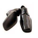 Zapatos negros del smoking de los hombres Imagenes de archivo