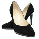 Zapatos negros del talón de punto Imagen de archivo libre de regalías
