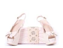 Zapatos nupciales, bolso Imagen de archivo