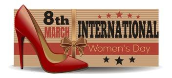 Zapatos para mujer en el fondo de una bandera dedicada al día para mujer internacional libre illustration