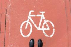 Zapatos peatonales en la calzada coral-coloreada para los ciclistas imágenes de archivo libres de regalías