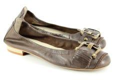Zapatos planos de cuero de las mujeres imágenes de archivo libres de regalías