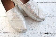 Zapatos planos del brillo Foto de archivo libre de regalías