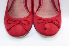 Zapatos planos rojos Foto de archivo libre de regalías