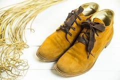 Zapatos retros brillantes de las mujeres de Brown Imagen de archivo libre de regalías