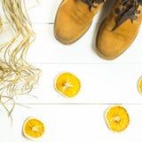 Zapatos retros brillantes de las mujeres de Brown Fotos de archivo libres de regalías