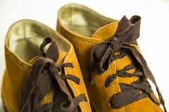 Zapatos retros brillantes de las mujeres de Brown Fotografía de archivo libre de regalías