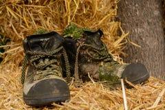 Zapatos revestidos de la montaña - Upcycling Imágenes de archivo libres de regalías