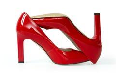 Zapatos rojos de la moda aislados Foto de archivo libre de regalías