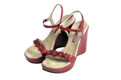 Zapatos rojos de la vendimia Imagenes de archivo