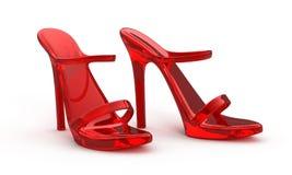 Zapatos rojos de las mujeres Imágenes de archivo libres de regalías