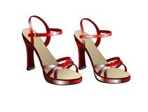 Zapatos rojos del baile Imagen de archivo libre de regalías