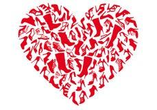 Zapatos rojos del corazón, vector ilustración del vector