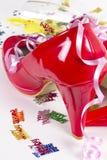 Zapatos rojos del cumpleaños Imágenes de archivo libres de regalías