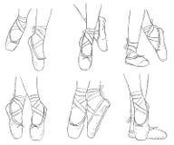 Zapatos rosados de la bailarina Zapatos del pointe del ballet con la cinta Fotografía de archivo