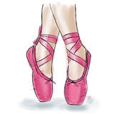 Zapatos rosados de la bailarina Zapatos del pointe del ballet con la cinta Imagenes de archivo
