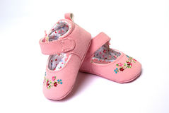 zapatos rosados para el bebé Fotos de archivo libres de regalías