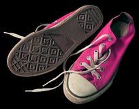 Zapatos rosados viejos de la ropa Foto de archivo
