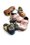 Zapatos usados de los niños cerca para arriba Foto de archivo libre de regalías