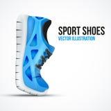 Zapatos verdes curvados de funcionamiento Zapatillas de deporte brillantes del deporte Imagen de archivo