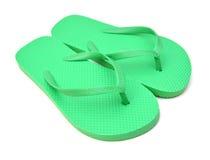 Zapatos verdes de la playa Foto de archivo libre de regalías