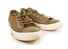 Zapatos verdes del deporte aislados Foto de archivo libre de regalías