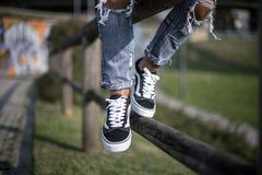 Zapatos viejos de Skool de las furgonetas Imágenes de archivo libres de regalías