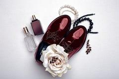 Zapatos y accesorios elegantes del clarete Fotografía de archivo