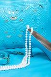 Zapatos y bolso azules hermosos, perlas Imagen de archivo libre de regalías
