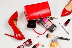 Zapatos y bolso rojos Imagen de archivo libre de regalías