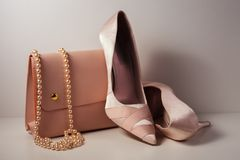Zapatos y bolso rosados del encanto en fondo gris Foto de archivo libre de regalías