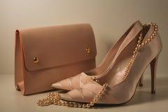 Zapatos y bolso rosados del encanto en fondo gris Fotografía de archivo