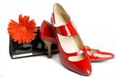 Zapatos y bolso y flor Imagen de archivo libre de regalías