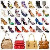 Zapatos y bolsos de la moda en diversos colores Foto de archivo libre de regalías