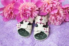Zapatos y flores del bebé Imagen de archivo libre de regalías