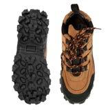 Zapatos y planta del pie que van de excursión resistentes Imagen de archivo