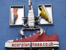 Zapatos y un escorpión en una pared azul Fotos de archivo