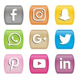 Zapina ikony ogólnospołeczni medialni logowie ilustracja wektor