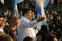 ZAPORIZHIA, ΟΥΚΡΑΝΙΑ - 21 Σεπτεμβρίου 2017: Πολιτική συνεδρίαση του Saakashvili Mikheil με τους ανθρώπους στο τετράγωνο στο κέντρ Στοκ Εικόνα