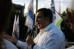 ZAPORIZHIA, ΟΥΚΡΑΝΙΑ - 21 Σεπτεμβρίου 2017: Πολιτική συνεδρίαση του Saakashvili Mikheil με τους ανθρώπους στο τετράγωνο στο κέντρ Στοκ Φωτογραφίες
