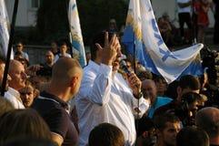 ZAPORIZHIA, de OEKRAÏNE - September 21, 2017: De politieke vergadering van Mikheil Saakashvili met mensen in vierkant in centrum  stock afbeelding