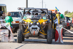 Zaporizhia Trophy 2016. II stage of offroad trophy Ukrainian championship. Starting line. royalty free stock photo
